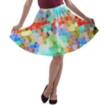Colorful Mosaic  A-line Skater Skirt