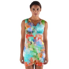 Colorful Mosaic  Wrap Front Bodycon Dress