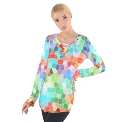 Colorful Mosaic  Women s Tie Up Tee by designworld65
