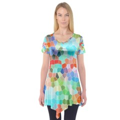 Colorful Mosaic  Short Sleeve Tunic  by designworld65