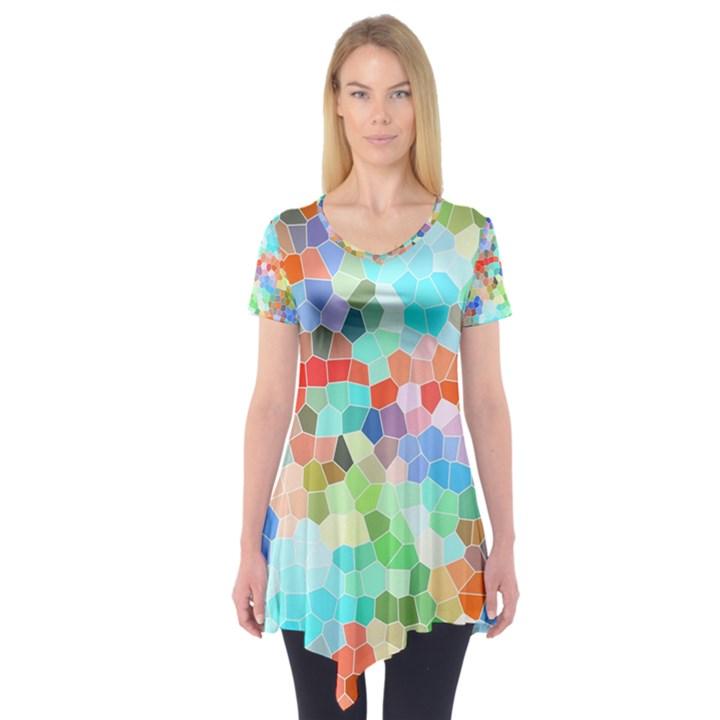 Colorful Mosaic  Short Sleeve Tunic