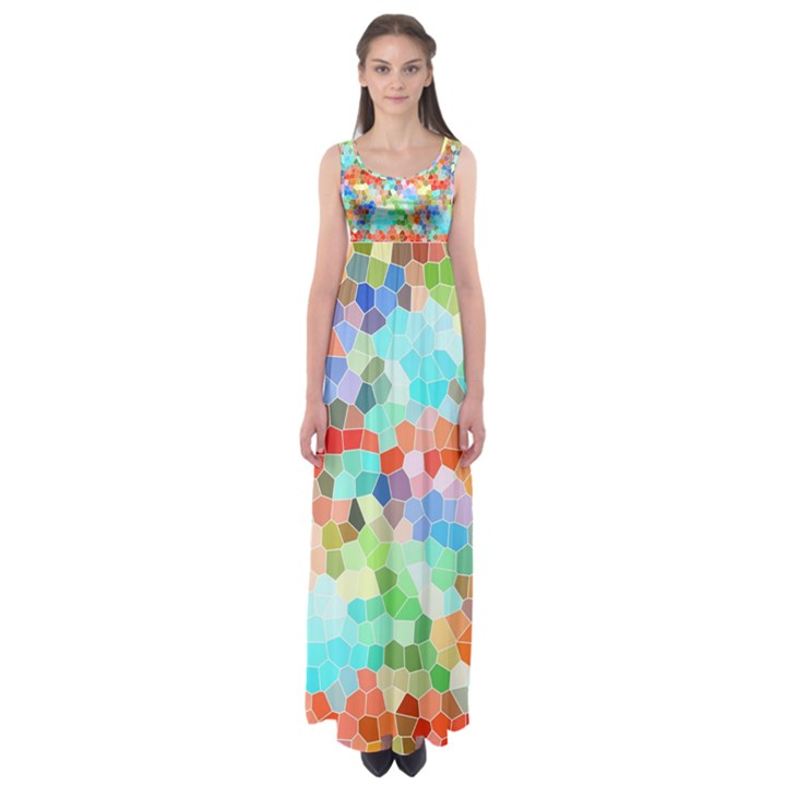 Colorful Mosaic  Empire Waist Maxi Dress