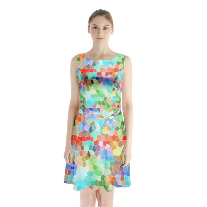 Colorful Mosaic  Sleeveless Chiffon Waist Tie Dress