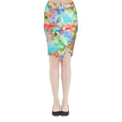 Colorful Mosaic  Midi Wrap Pencil Skirt by designworld65