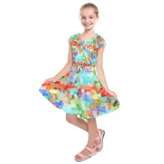 Colorful Mosaic  Kids  Short Sleeve Dress by designworld65