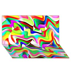 Irritation Colorful Dream Twin Hearts 3d Greeting Card (8x4) by designworld65
