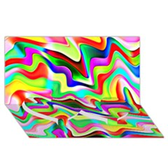 Irritation Colorful Dream Twin Heart Bottom 3d Greeting Card (8x4) by designworld65