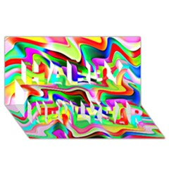 Irritation Colorful Dream Happy New Year 3d Greeting Card (8x4) by designworld65