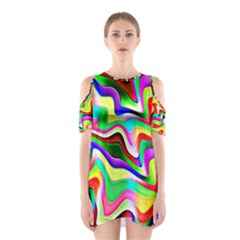 Irritation Colorful Dream Cutout Shoulder Dress