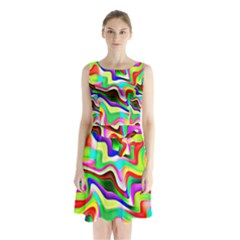 Irritation Colorful Dream Sleeveless Chiffon Waist Tie Dress