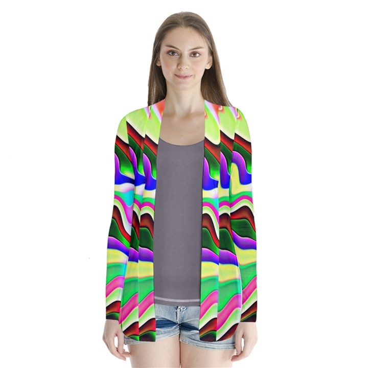 Irritation Colorful Dream Drape Collar Cardigan