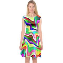 Irritation Colorful Dream Capsleeve Midi Dress by designworld65