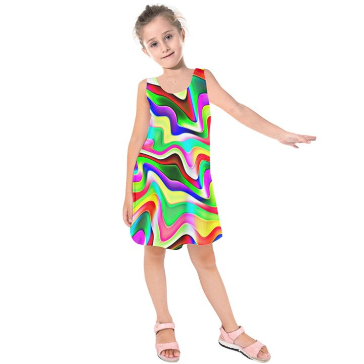 Irritation Colorful Dream Kids  Sleeveless Dress