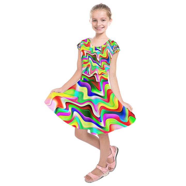 Irritation Colorful Dream Kids  Short Sleeve Dress