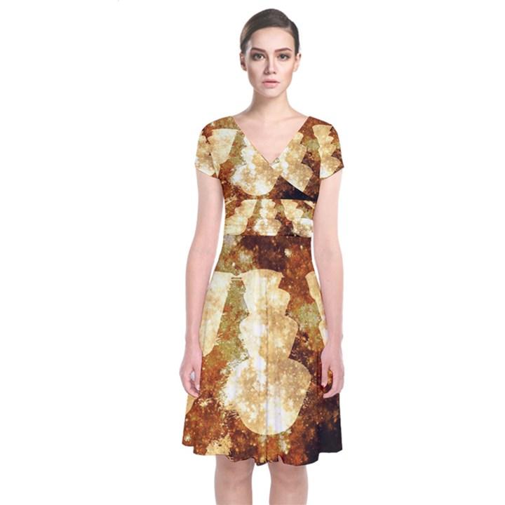 Sparkling Lights Short Sleeve Front Wrap Dress