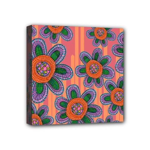 Colorful Floral Dream Mini Canvas 4  X 4  by DanaeStudio