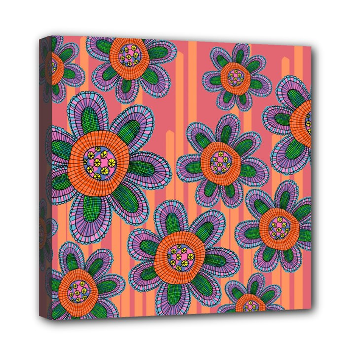 Colorful Floral Dream Mini Canvas 8  x 8