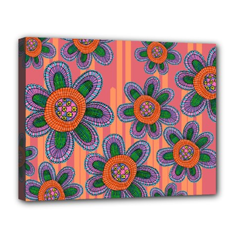 Colorful Floral Dream Canvas 14  X 11  by DanaeStudio