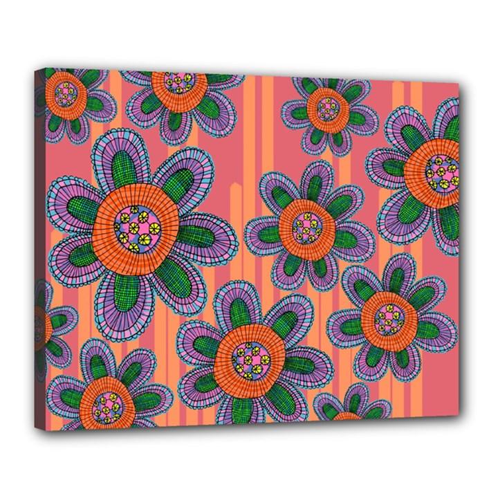 Colorful Floral Dream Canvas 20  x 16