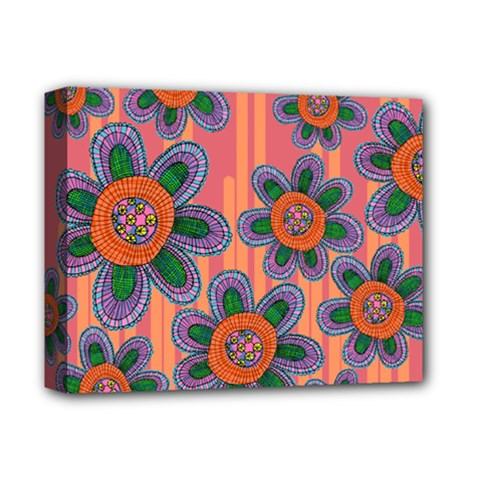 Colorful Floral Dream Deluxe Canvas 14  X 11  by DanaeStudio