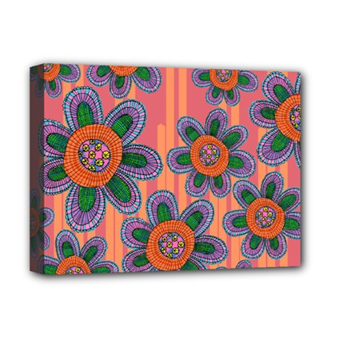 Colorful Floral Dream Deluxe Canvas 16  X 12   by DanaeStudio