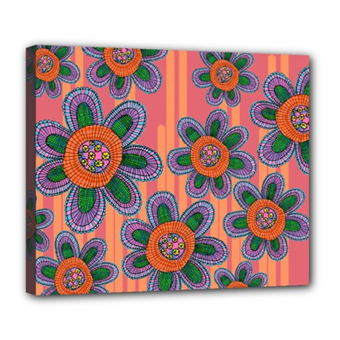 Colorful Floral Dream Deluxe Canvas 24  X 20   by DanaeStudio