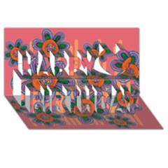 Colorful Floral Dream Happy Birthday 3d Greeting Card (8x4)