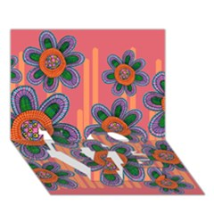 Colorful Floral Dream Love Bottom 3d Greeting Card (7x5) by DanaeStudio