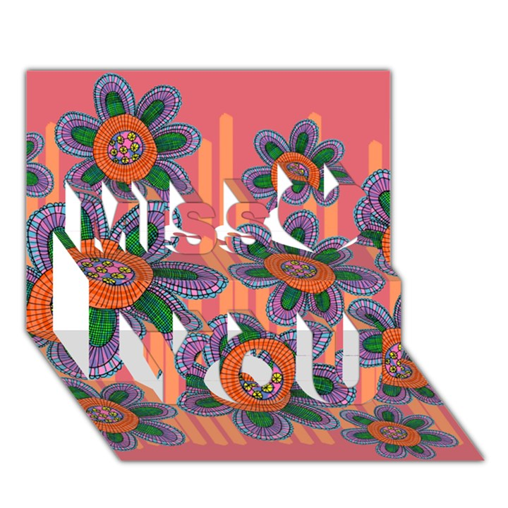 Colorful Floral Dream Miss You 3D Greeting Card (7x5)