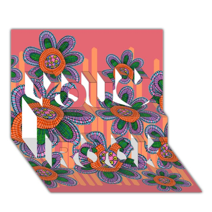 Colorful Floral Dream You Rock 3D Greeting Card (7x5)
