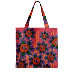 Colorful Floral Dream Zipper Grocery Tote Bag by DanaeStudio
