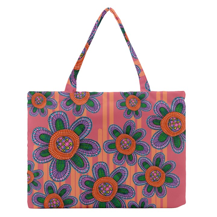 Colorful Floral Dream Medium Zipper Tote Bag