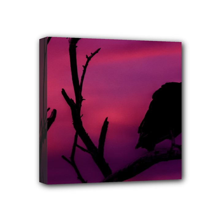 Vultures At Top Of Tree Silhouette Illustration Mini Canvas 4  x 4