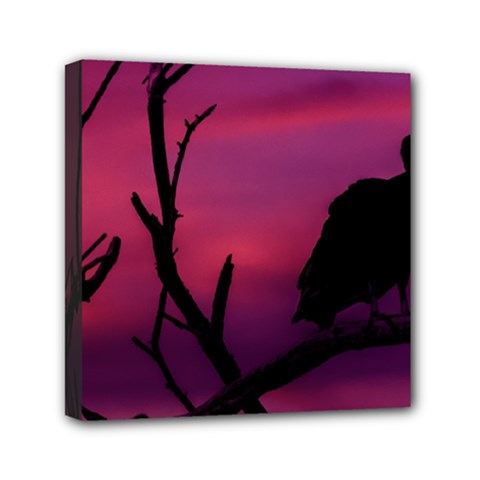 Vultures At Top Of Tree Silhouette Illustration Mini Canvas 6  X 6  by dflcprints