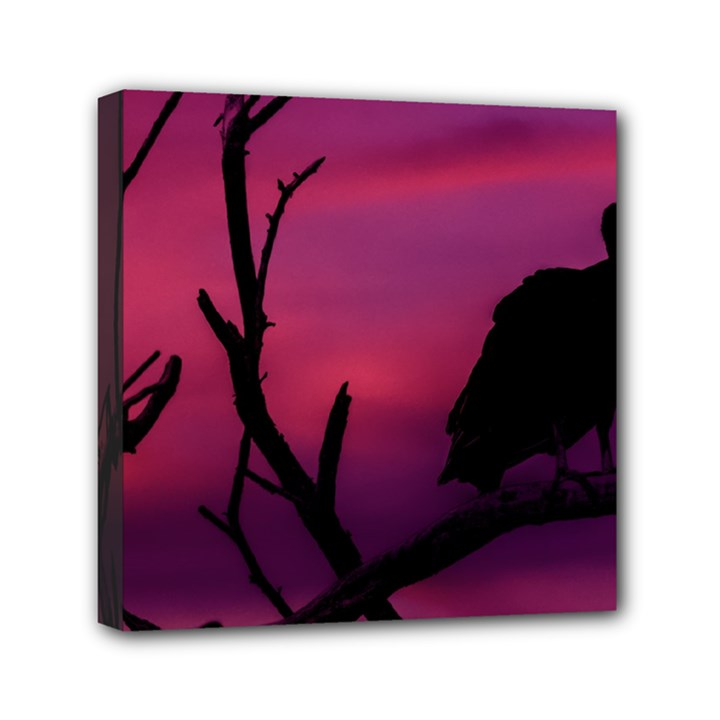 Vultures At Top Of Tree Silhouette Illustration Mini Canvas 6  x 6