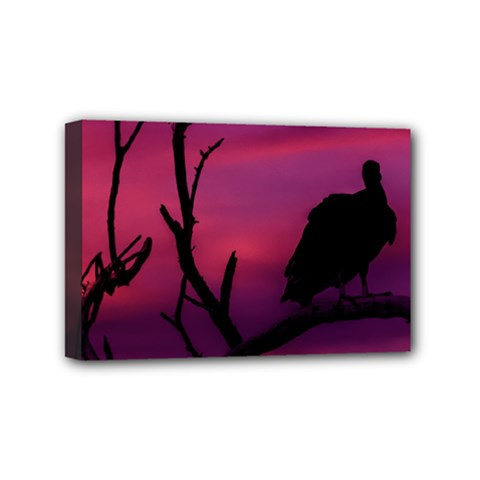 Vultures At Top Of Tree Silhouette Illustration Mini Canvas 6  X 4