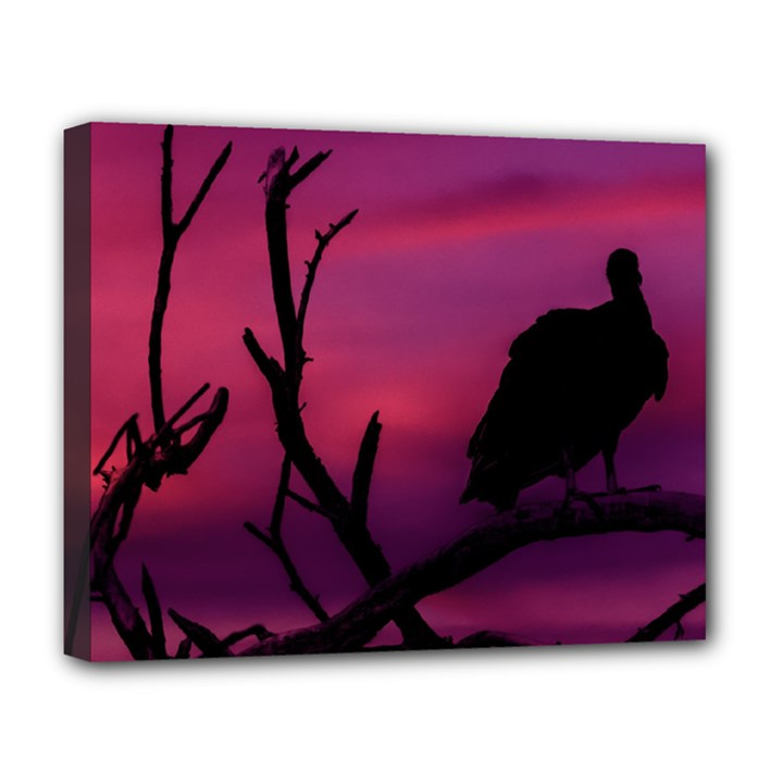 Vultures At Top Of Tree Silhouette Illustration Deluxe Canvas 20  x 16