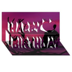 Vultures At Top Of Tree Silhouette Illustration Happy Birthday 3d Greeting Card (8x4) by dflcprints