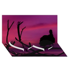 Vultures At Top Of Tree Silhouette Illustration Twin Heart Bottom 3d Greeting Card (8x4) by dflcprints