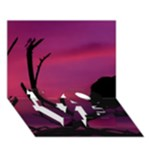Vultures At Top Of Tree Silhouette Illustration LOVE Bottom 3D Greeting Card (7x5)
