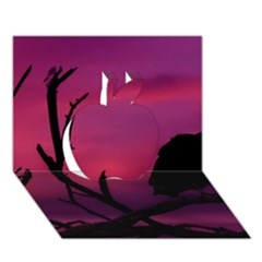 Vultures At Top Of Tree Silhouette Illustration Apple 3d Greeting Card (7x5) by dflcprints