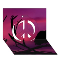 Vultures At Top Of Tree Silhouette Illustration Peace Sign 3d Greeting Card (7x5) by dflcprints
