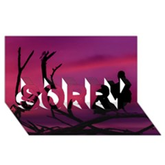 Vultures At Top Of Tree Silhouette Illustration Sorry 3d Greeting Card (8x4) by dflcprints
