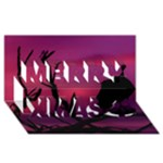 Vultures At Top Of Tree Silhouette Illustration Merry Xmas 3D Greeting Card (8x4)
