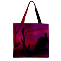 Vultures At Top Of Tree Silhouette Illustration Zipper Grocery Tote Bag