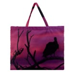 Vultures At Top Of Tree Silhouette Illustration Zipper Large Tote Bag