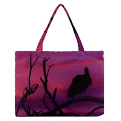 Vultures At Top Of Tree Silhouette Illustration Medium Zipper Tote Bag by dflcprints