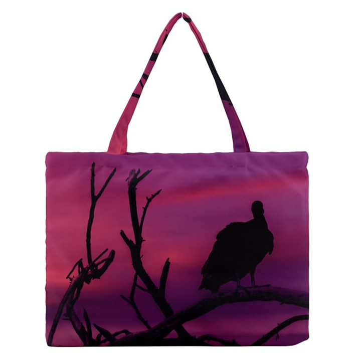 Vultures At Top Of Tree Silhouette Illustration Medium Zipper Tote Bag