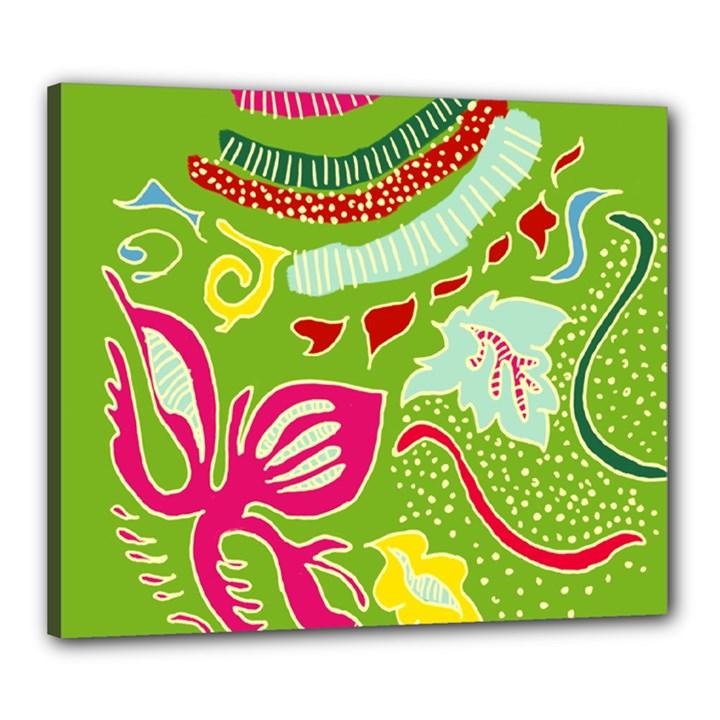 Green Organic Abstract Canvas 24  x 20