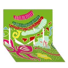 Green Organic Abstract I Love You 3d Greeting Card (7x5) by DanaeStudio
